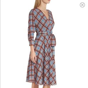 Eliza J Plaid Faux Wrap Dress